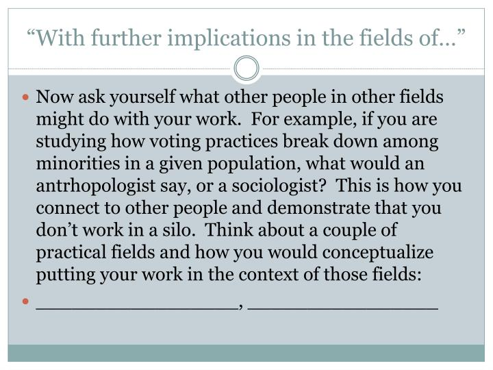 """""""With further implications in the fields of…"""""""