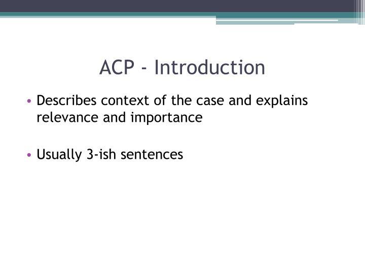 ACP - Introduction
