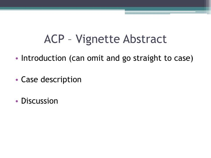 ACP – Vignette Abstract