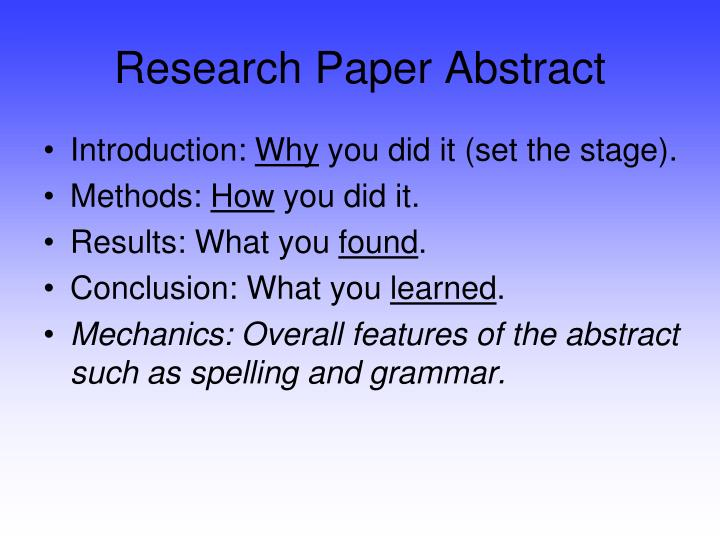 Research Paper Abstract