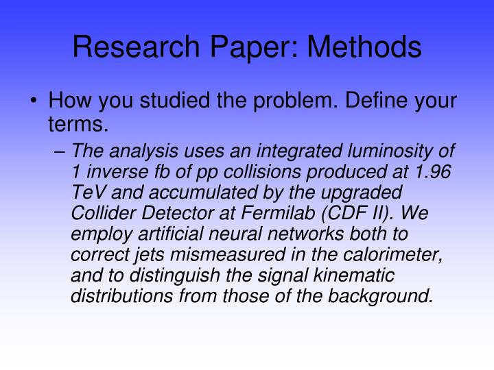 Research Paper: Methods