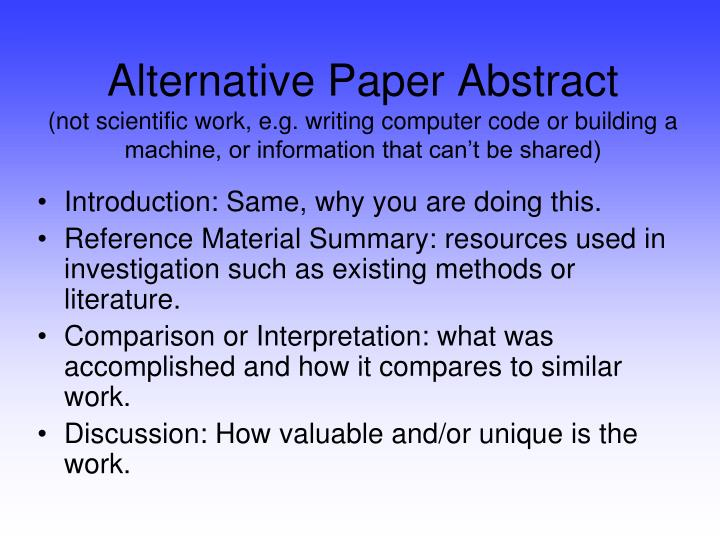 Alternative Paper Abstract