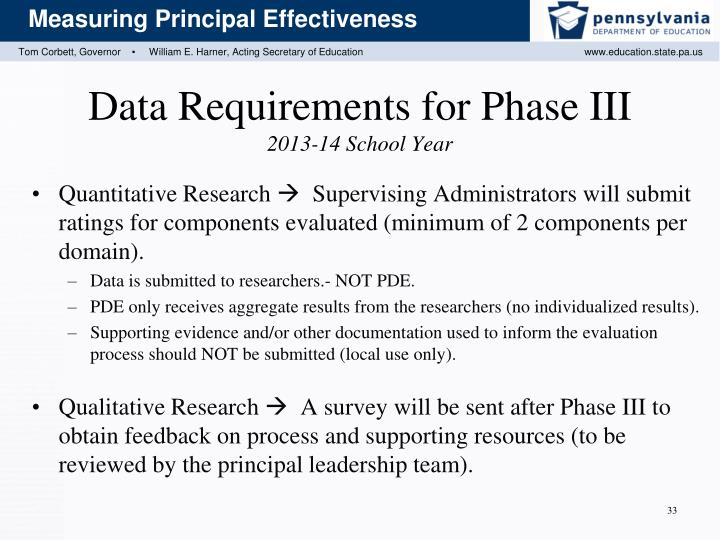 Data Requirements for Phase III