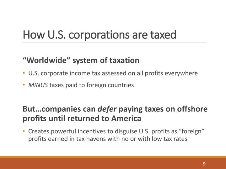 How U.S. corporations are taxed
