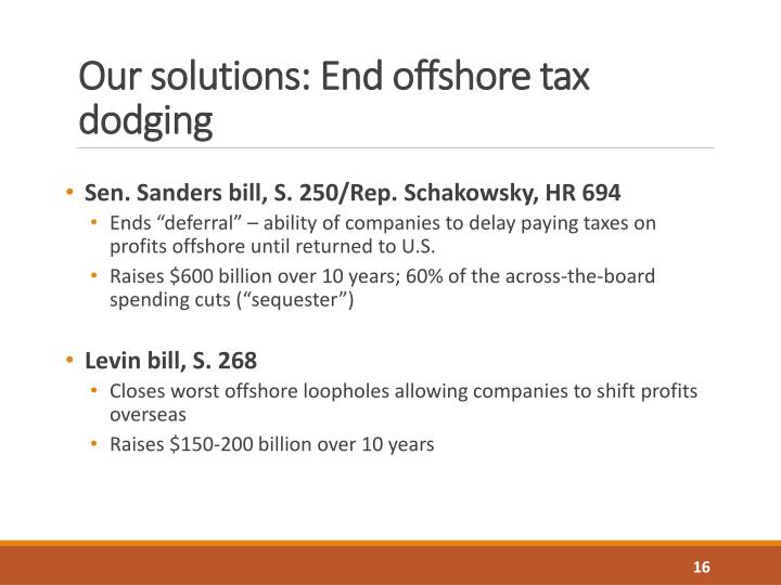 Our solutions: End offshore tax dodging