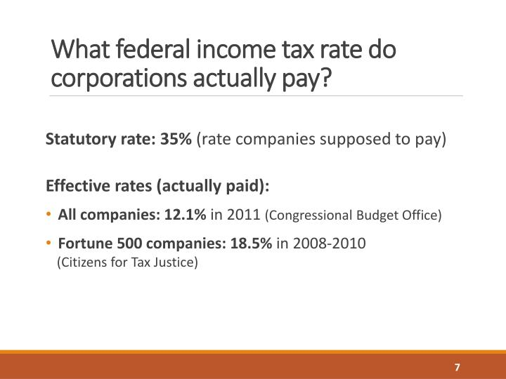 What federal income tax rate do corporations actually pay?