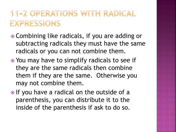 11-2 operations with radical expressions