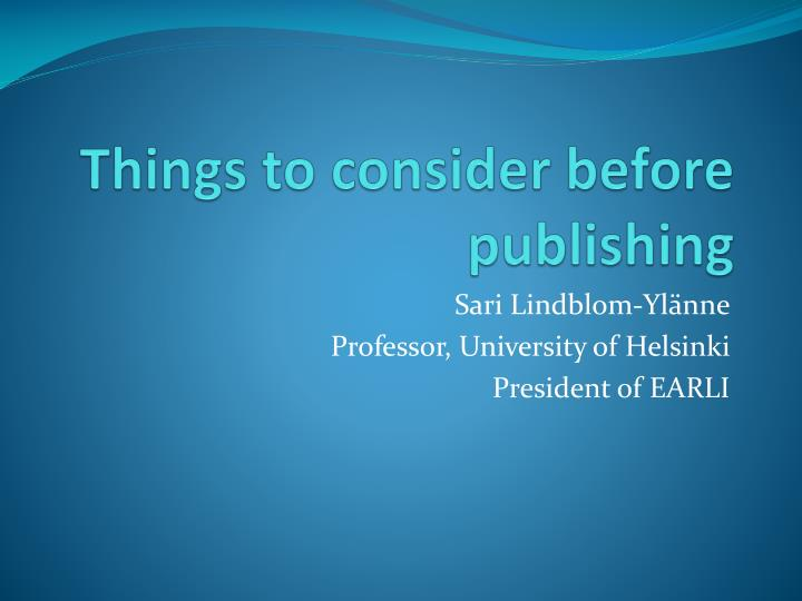 things to consider before publishing n.
