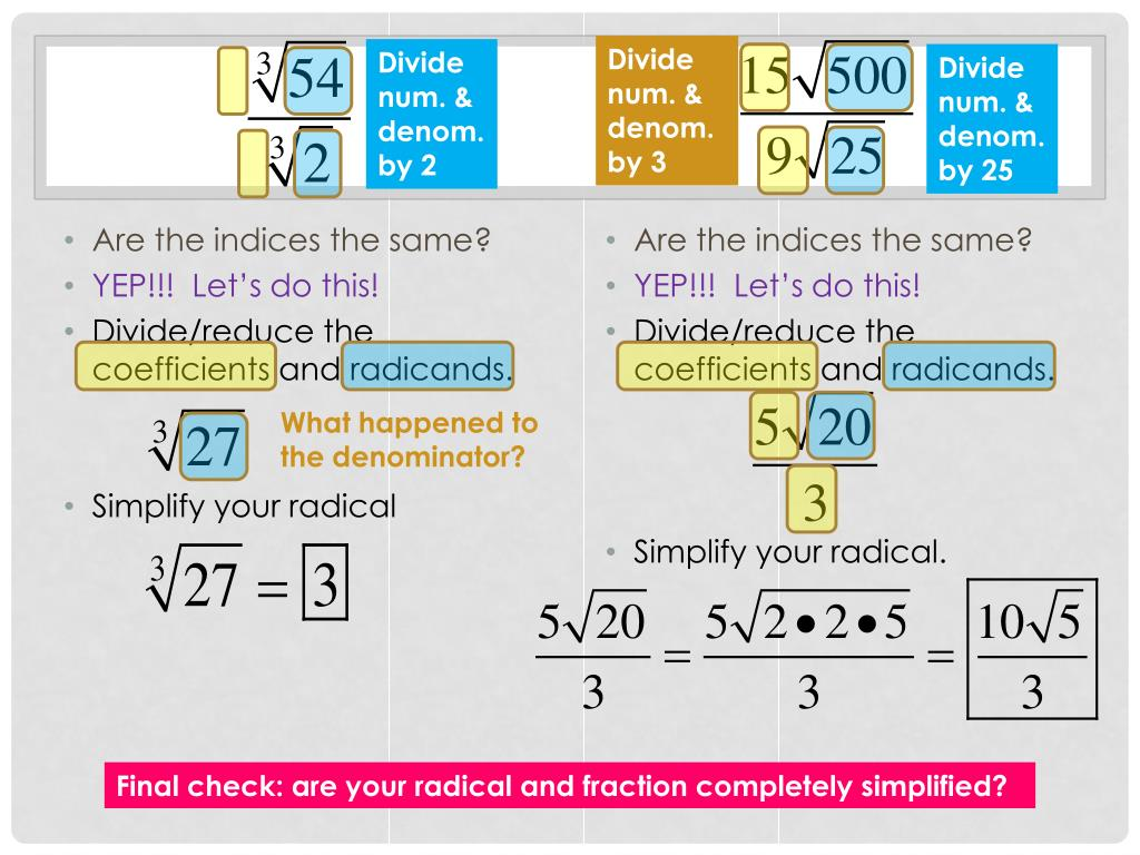 how to divide radicals