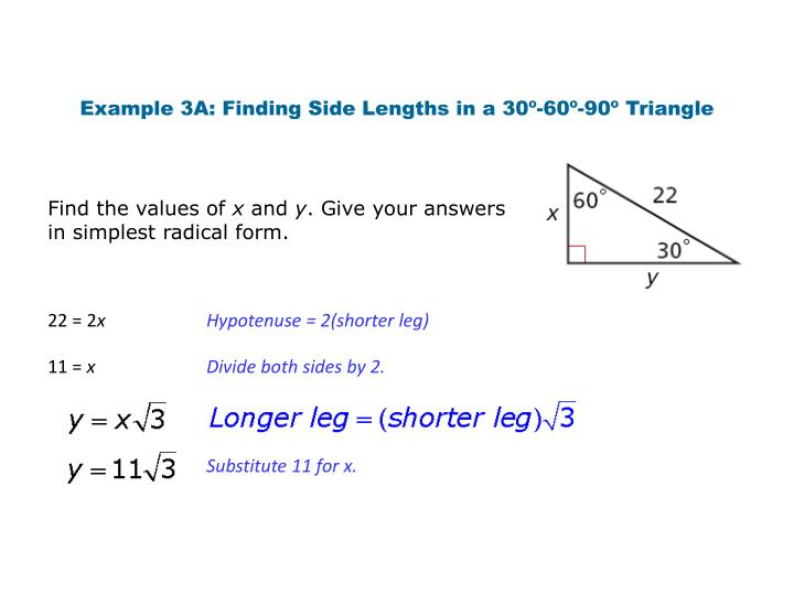Example 3A: Finding Side Lengths in a 30º-60º-90º Triangle
