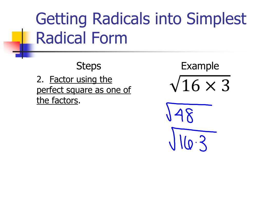 Ppt Radicals Review Powerpoint Presentation Free Download Id 1891321 Pull terms out from under the radical, assuming positive real numbers. radicals review powerpoint presentation