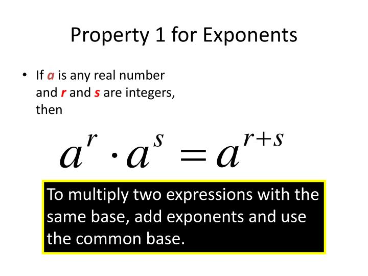 Property 1 for Exponents