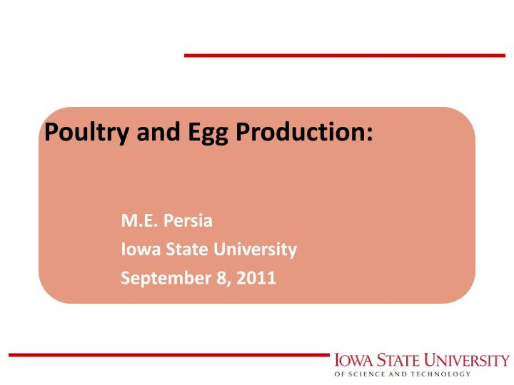 Poultry and egg production