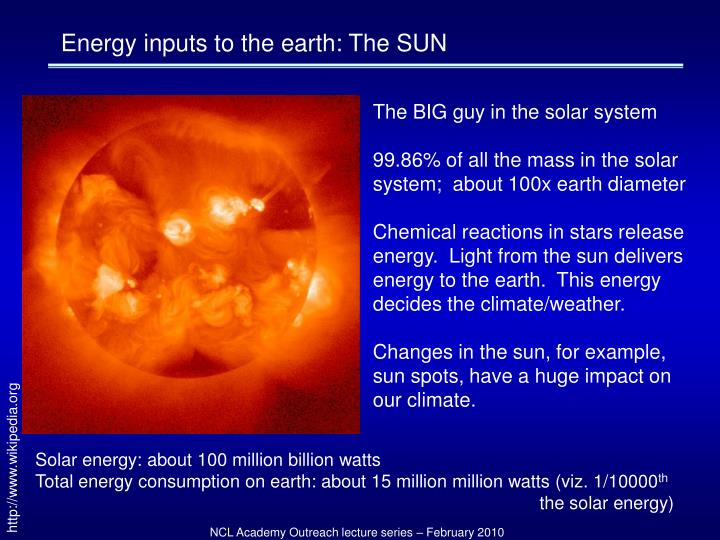 Energy inputs to the earth: The SUN