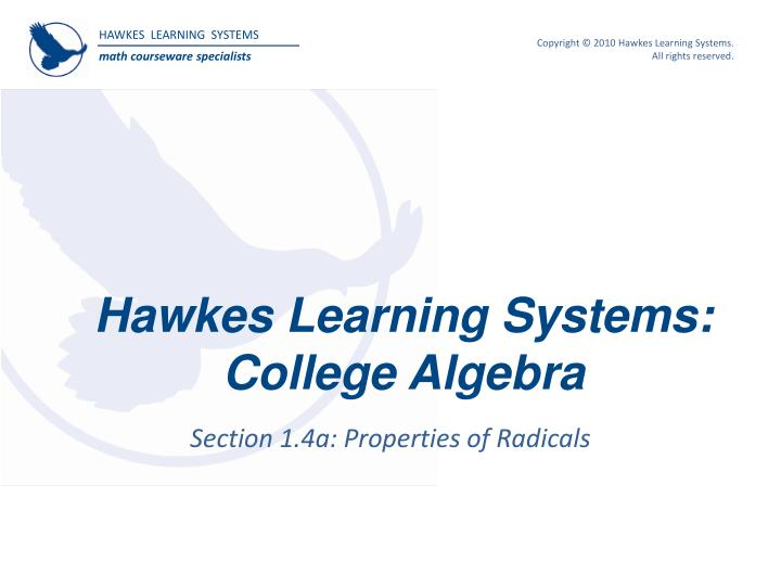 hawkes learning systems college algebra