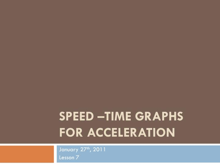 Speed time graphs for acceleration