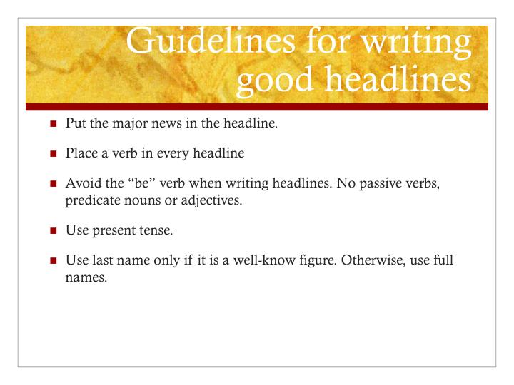 Guidelines for writing good headlines