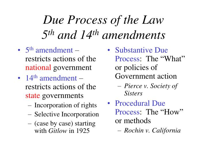 5th Amendment Restricts Actions Of The National Government