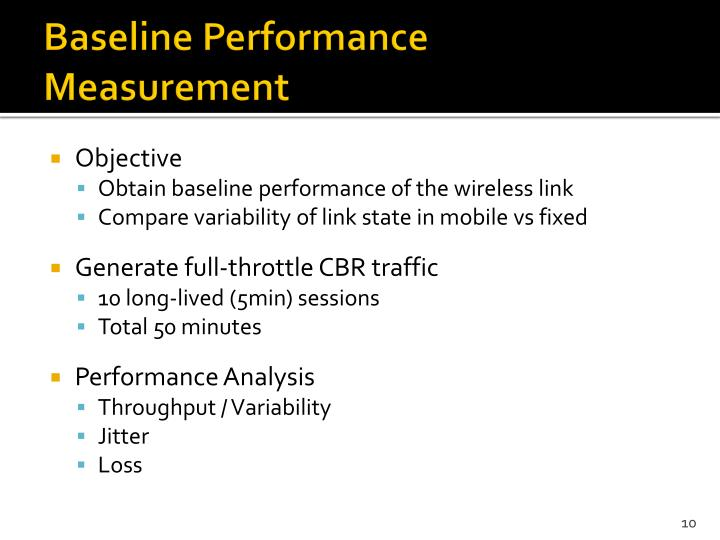 Baseline Performance Measurement