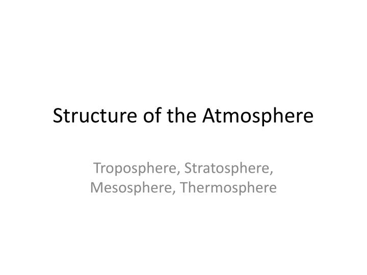 structure of the atmosphere n.