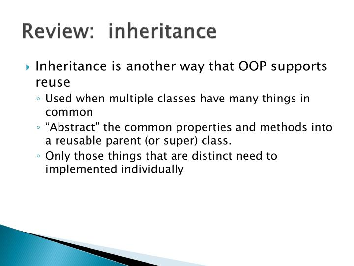 Review inheritance