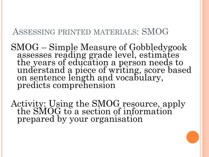 A ssessing printed materials smog
