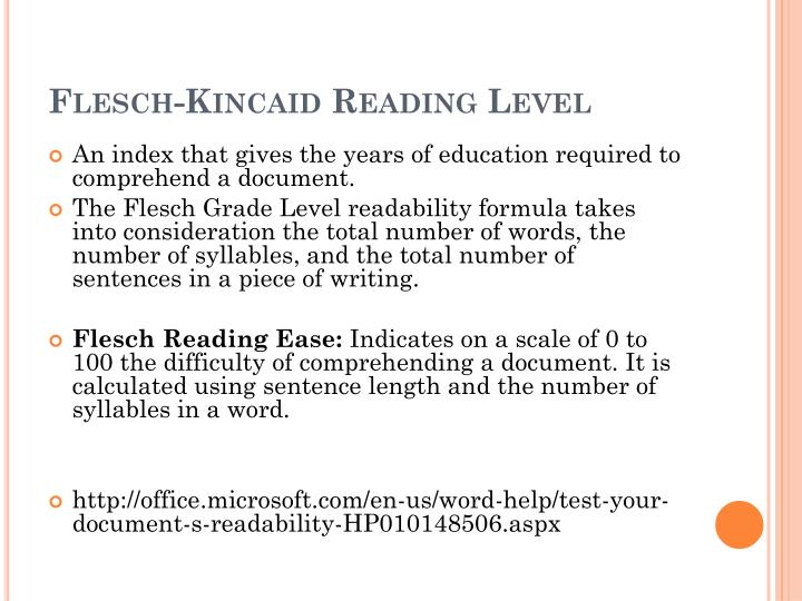 Flesch-Kincaid Reading Level