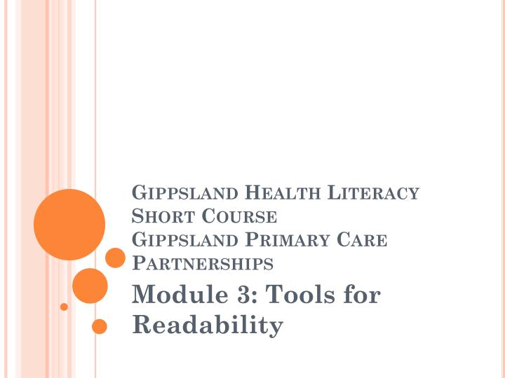Gippsland health literacy short course gippsland primary care partnerships