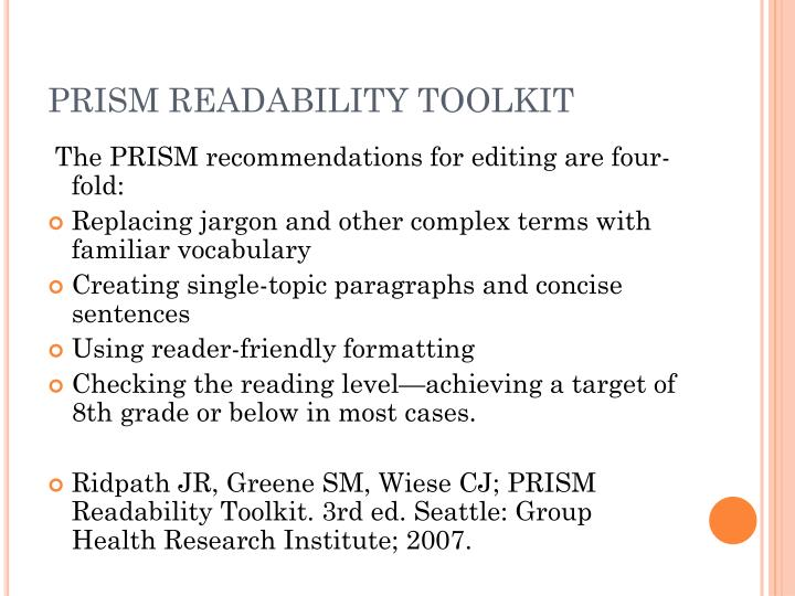 PRISM READABILITY TOOLKIT