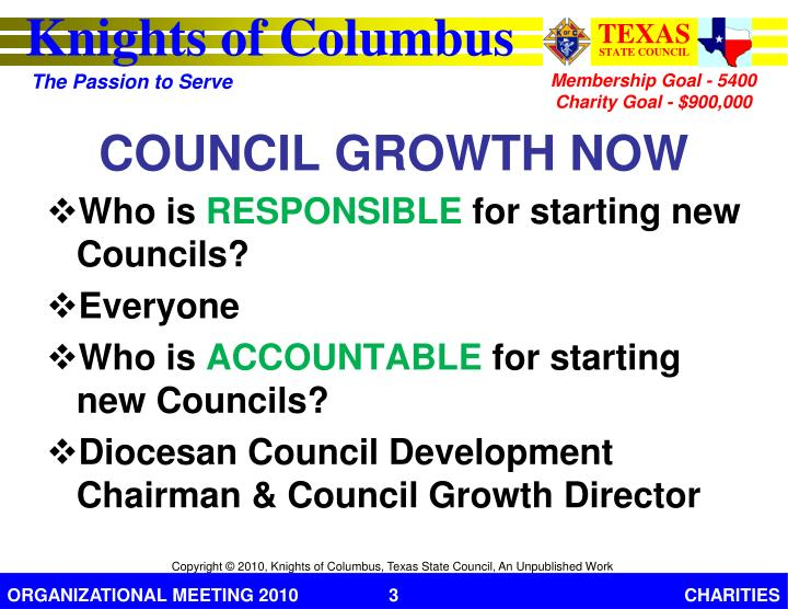 Council growth now