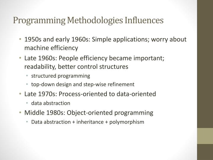 Programming Methodologies Influences