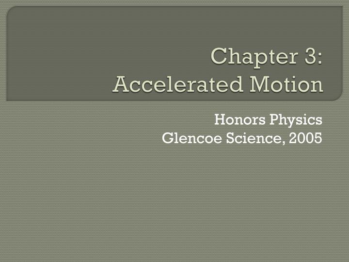 PPT Chapter 3 Accelerated Motion PowerPoint Presentation