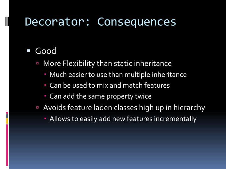 Decorator: Consequences