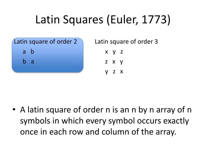 Latin Squares (Euler, 1773)