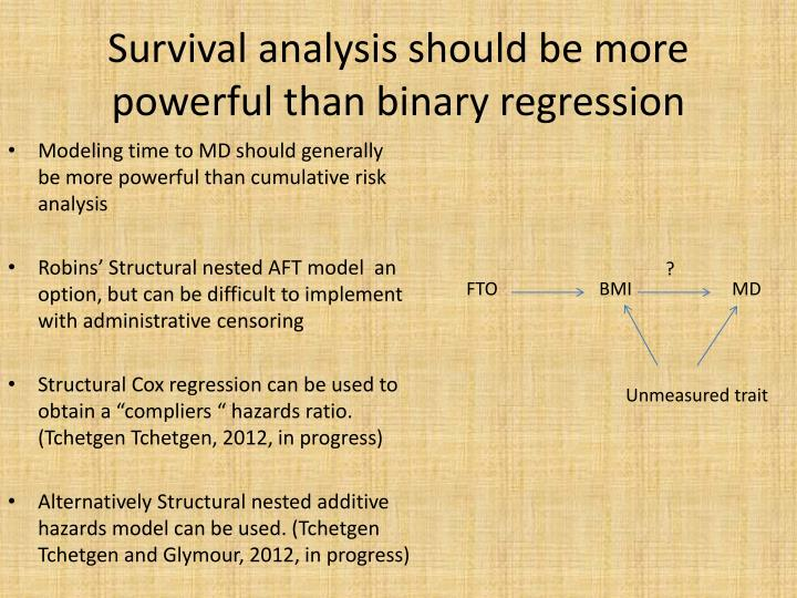 Survival analysis should be more powerful than binary regression