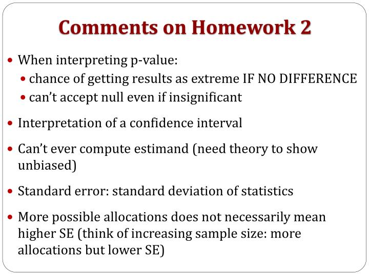 Comments on Homework 2