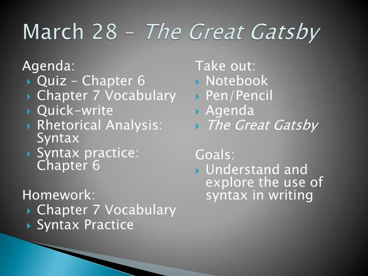 gatsby rhetorical analysis When writing a rhetorical analysis essay on the great gatsby, you should keep the gist of the story in mind and proceed with a clear vision that may differ from one person to another some may say that the story is a triumph of love while the other may emphasize on the lack of wisdom.