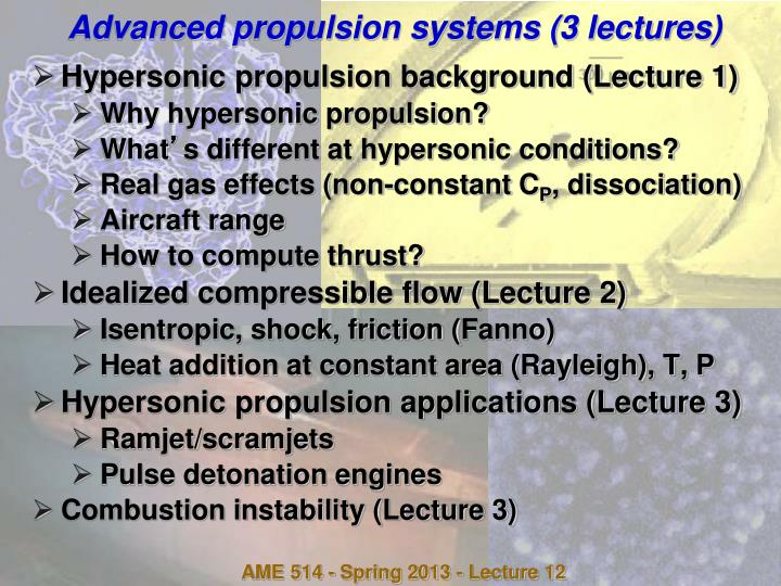 PPT - Advanced propulsion systems (3 lectures) PowerPoint