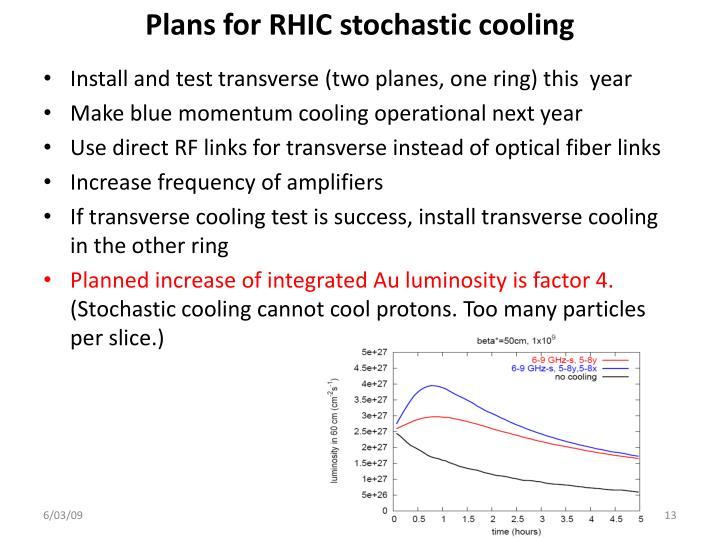 Plans for RHIC stochastic cooling