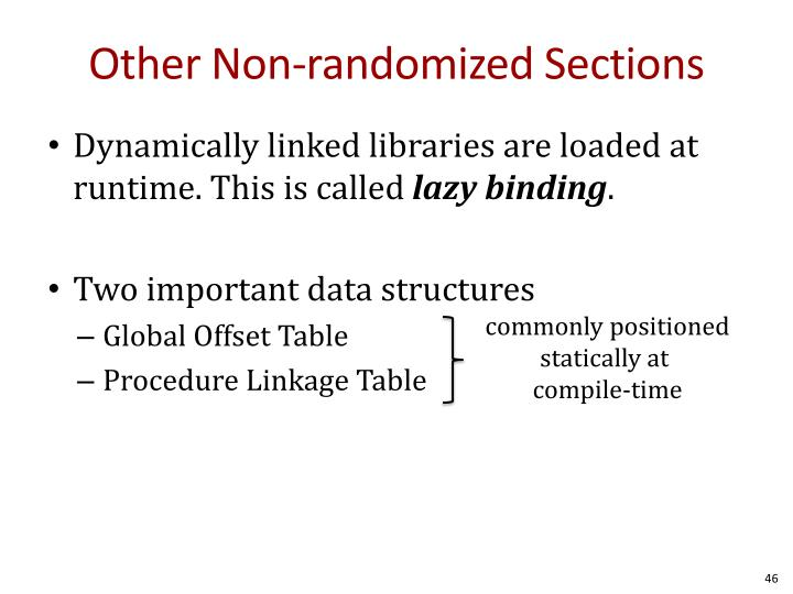 Other Non-randomized Sections
