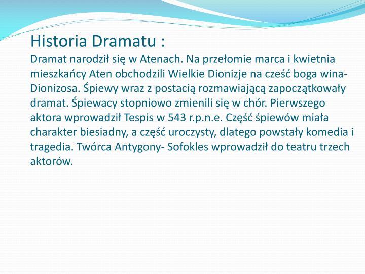 Historia Dramatu :
