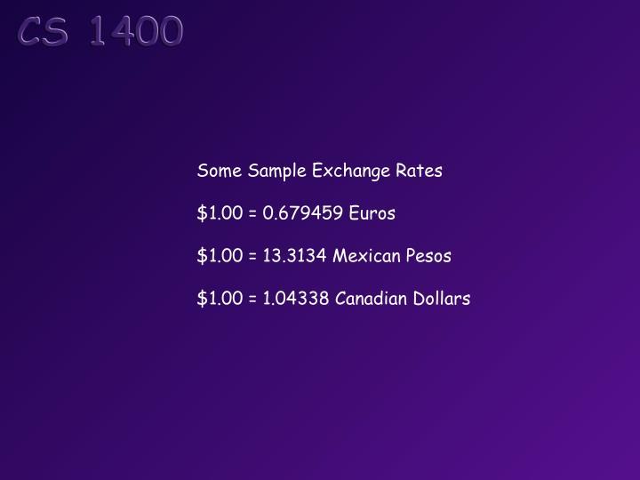 Some Sample Exchange Rates