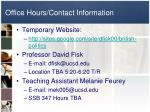 office hours contact information