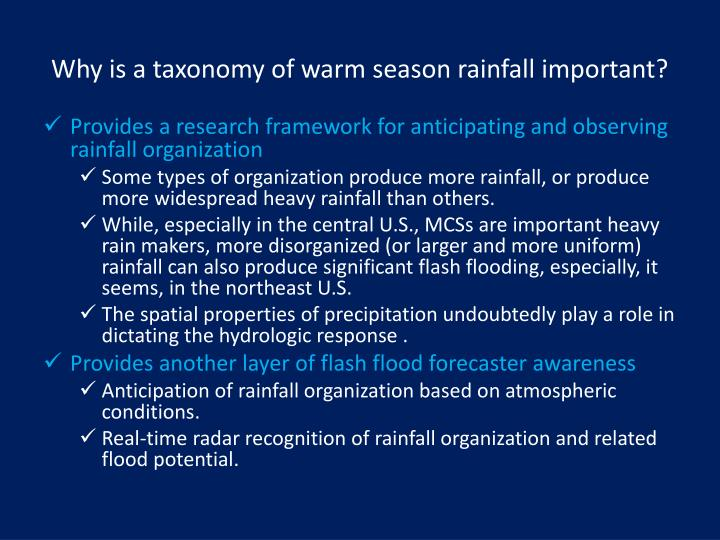 Why is a taxonomy of warm season rainfall important?