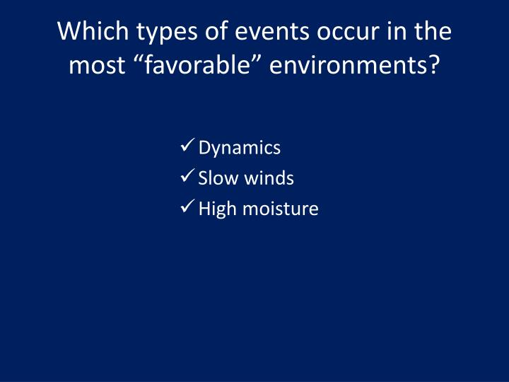 """Which types of events occur in the most """"favorable"""" environments?"""
