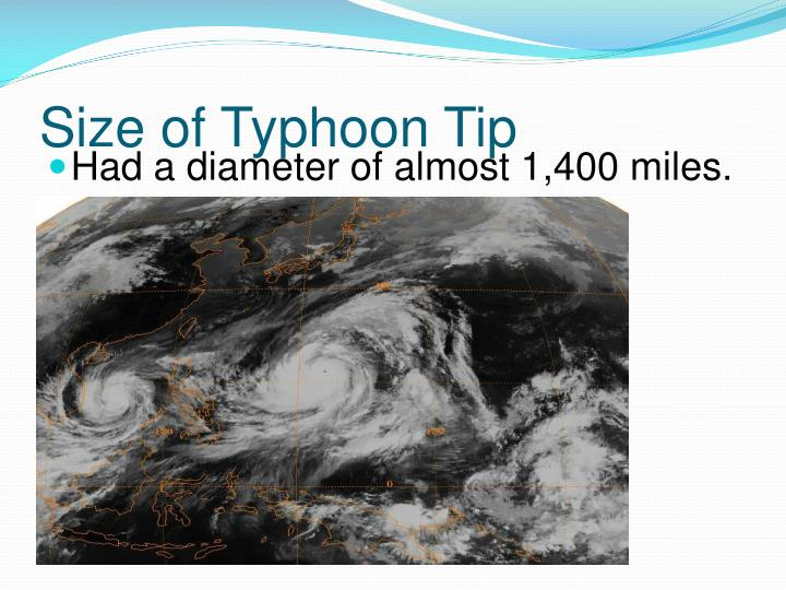 Size of Typhoon Tip