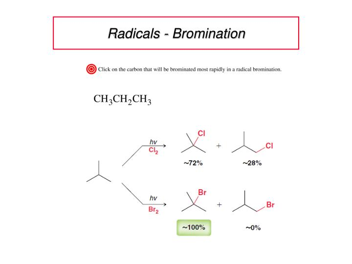 relative rates free radical bromination Free radical halogenation the regiochemistry of the halogenation of alkanes is usually determined by the relative weakness of the available c–h bonds.