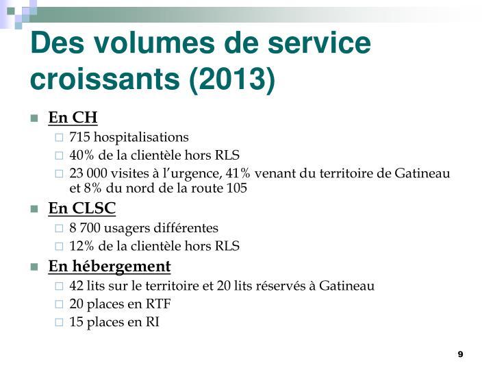 Des volumes de service croissants (2013)