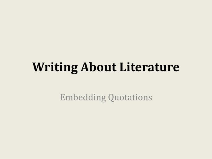 writing about literature n.