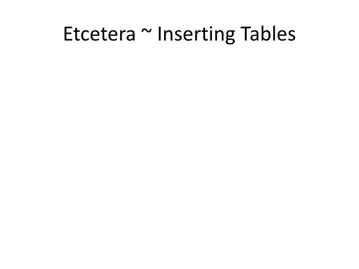 Etcetera ~ Inserting Tables